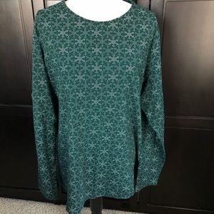 Lands End Green Snowflake Tee